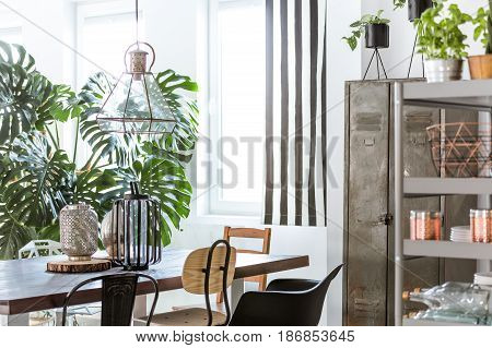 Steely Furniture In A Dining Room