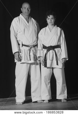 The master Guerra Marco C.N. 6 days and his student at the end of the demonstration of karate techniques.