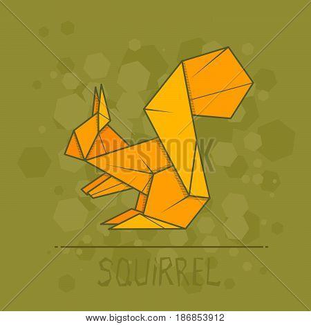 Vector simple illustration paper origami of squirrel.