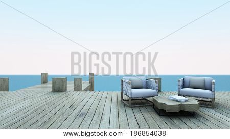Sofa set take view sea wayside roof batten for vacation and summer - 3d render