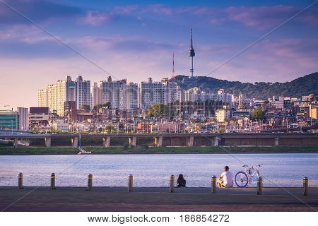 Han River And N Seoul Tower, Seoul City In Daytime, South Korea.