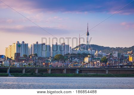 Seoul City In Daytime, Han River And N Seoul Tower, South Korea.