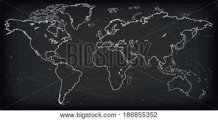 Vector Blank dark Grey black similar World map isolated on white background. Monochrome Worldmap template website design cover annual reports infographics. Flat Earth Graph World map illustration.