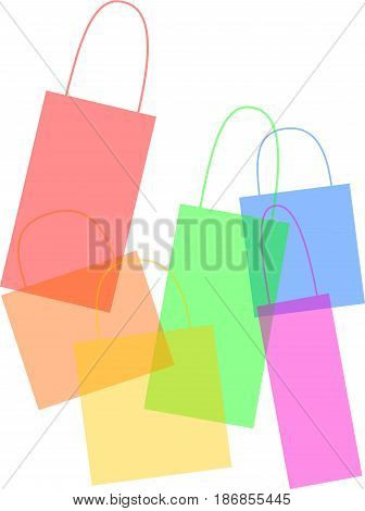 3D illustrations of multiple color shopping bags.