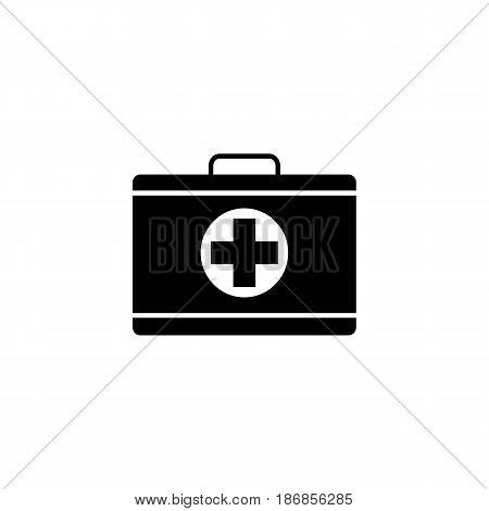 First aid box solid icon, medical case and bag, vector graphics, a filled pattern on a white background, eps 10.