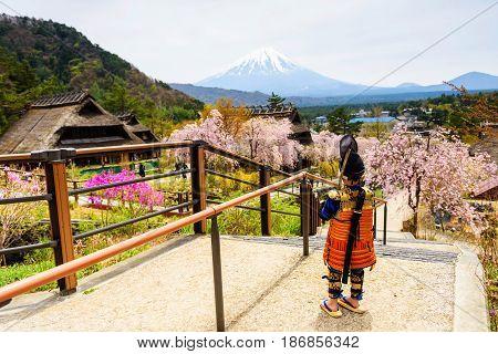 Samurai Boy At Farming Village By Mt. Fuji