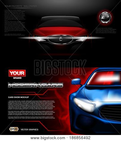 Digital vector red and blue modern sport car mockup, ready for print or magazine design. Your brand, white lights on. Black background. Transparent, realistic 3d, reflection