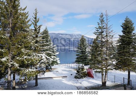 Winter near Mavrovo lake in Macedonian republic