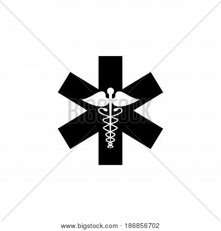 Caduceus solid icon, Medicine and health sign, vector graphics, filled pattern on a white background, eps 10.