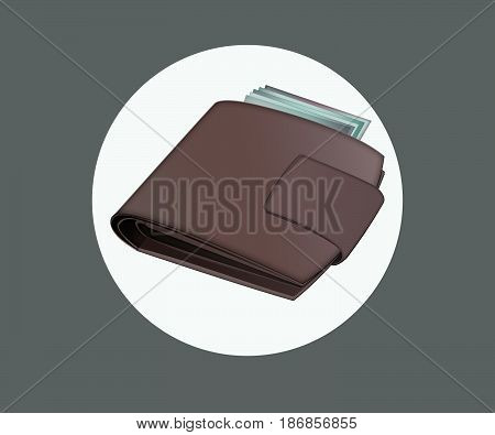 insulated brown wallet. icon with brown wallet