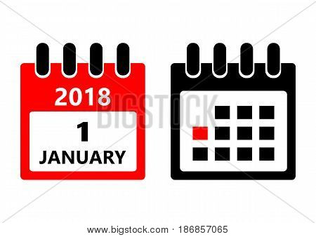 January 1. Vector flat daily calendar icon. Date and time, day, month. Holiday.
