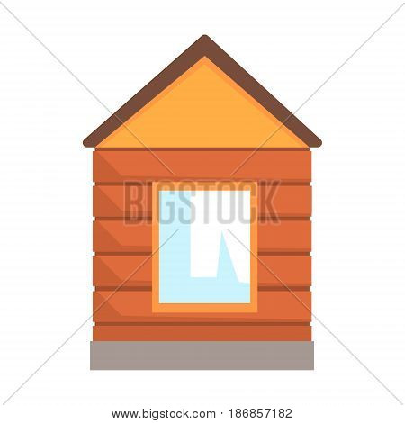 Small wooden kiosk, used for control at a railway crossing. Colorful cartoon illustration isolated on a white background