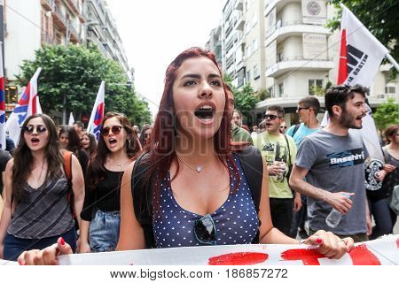 Protesters  During A National General Strike In Thessaloniki
