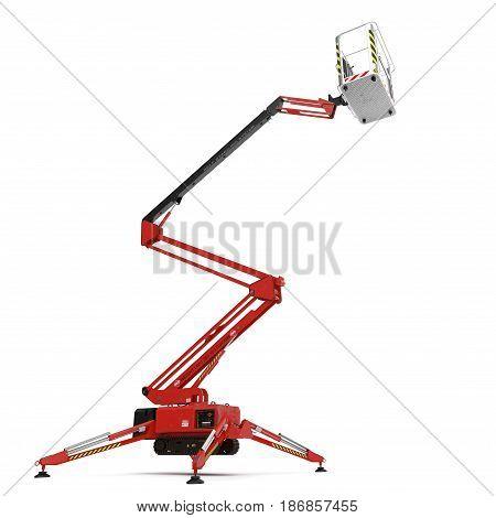 large red extended scissor lift platform on white background. 3D illustration