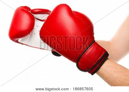 Boxing glove punch protection red knock hand