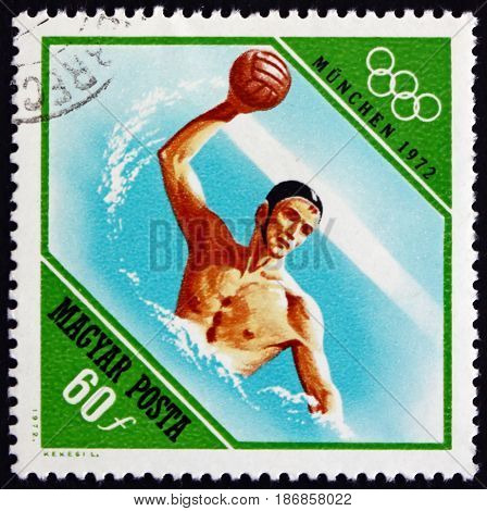 HUNGARY - CIRCA 1972: a stamp printed in Hungary shows Water Polo Water Sport 20th Olympic Games Munich circa 1972
