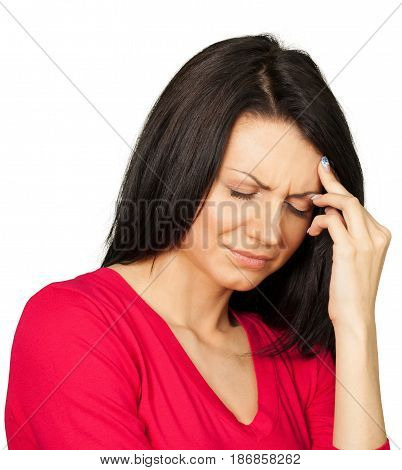 Woman caucasian sick ailing headache migraine female