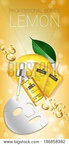 Lemon skin care mask ads. Vector Illustration with lemon whitening mask and packaging. Vertical Banner.