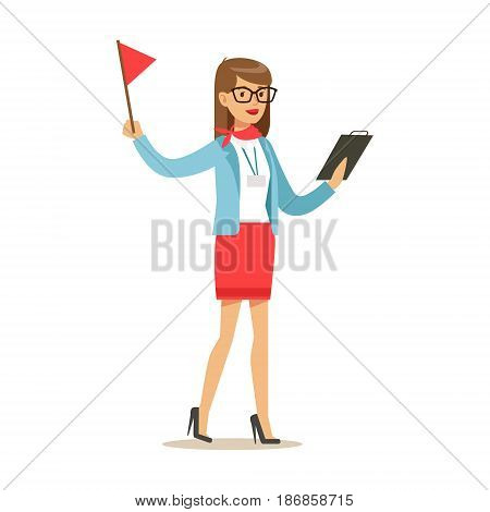 Tourist guide waiting for guests at the airoprt. Colorful cartoon character vector Illustration isolated on a white background