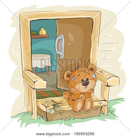 Vector illustration of a brown teddy bear sad sitting on the porch and waiting. Print, template, design element