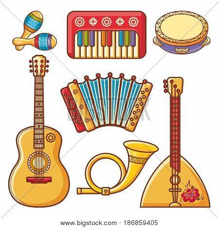 Musical instruments. Children's toys. Set. Maracas, accordion, balalaika, guitar, post horn, tambourine.