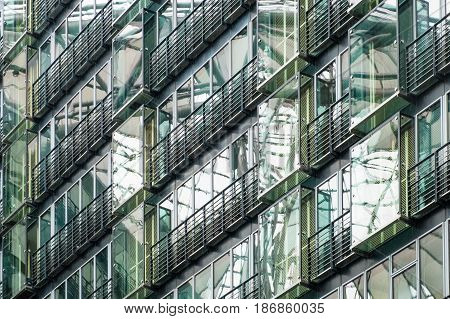 BErlin Germany - may 16 2017: Modern bffice building detail of the Sony Center at Potsdamer Platz in Berlin Germany