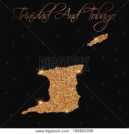 Trinidad And Tobago Map Filled With Golden Glitter. Luxurious Design Element, Vector Illustration.