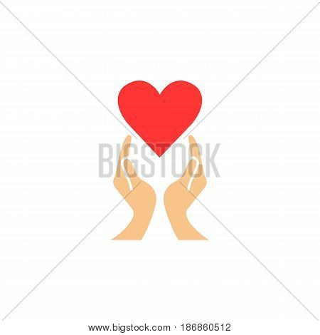Heart with hands solid icon,  healtcare sign, vector graphics, a colorful linear pattern on a white background, eps 10.