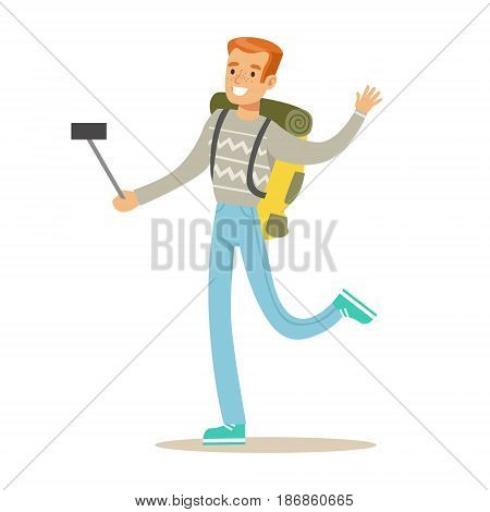 Smiling tourists man with backpack standing and taking selfie photo on his smart phone. Colorful cartoon character vector Illustration isolated on a white background