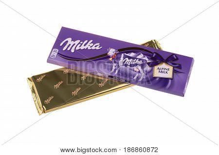 BURGAS, BULGARIA - MAY 17, 2017: Milka Swiss milk chocolate bar isolated on white background. Milka Alpine Milk chocolate bar made by Mondelez International.