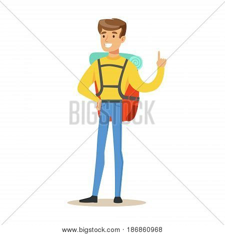 Young man tourist standing with backpack colorful cartoon character vector Illustration isolated on a white background