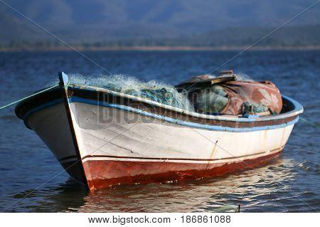Salt lake Bafa with fishermen boat. Mugla - İzmir.