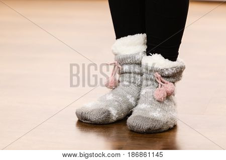Girl Wearing Winter Warm Socks.