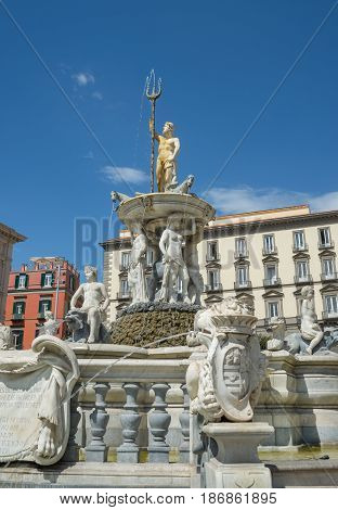 Neptune Fountain In Naples- Italy