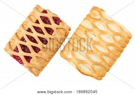 Wicker Pies With Cottage Cheese And Jam Isolated On White