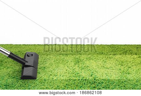 Vacuum Cleaning On Green Carpet