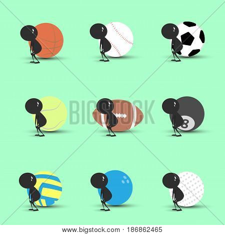 Black man character cartoon tired to playing sports with green background. Flat graphic. logo design. sports cartoon. sports balls vector. illustration.