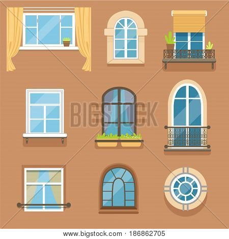 Windows set in different styles and forms. Window frames exterior view vector Illustrations