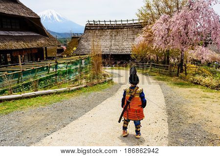 Samurai Boy At Old Village Near Mt. Fuji