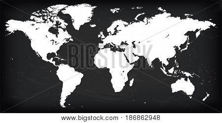 Vector Blank white silhouette similar World map Monochrome Worldmap template website design annual reports infographics. Detailed Flat Earth Graph World map illustration black chalkboard background