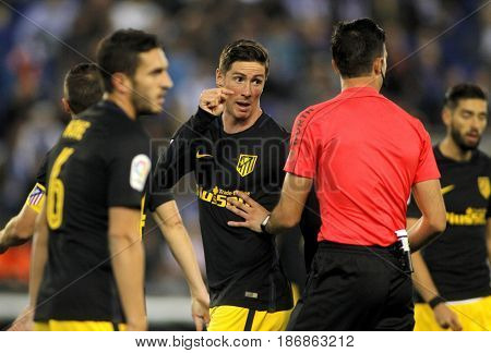 BARCELONA, SPAIN - MAY, 6: Fernando Torres of Atletico de Madrid during a Spanish League match against RCD Espanyol at the RCDE Stadium on May 6 2017 in Barcelona Spain