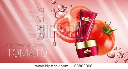 Tomato skin care series ads. Vector Illustration with tomatoes and cream tube and container. Horizontal banner.