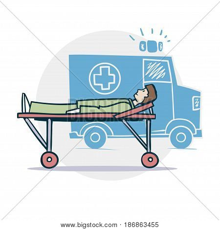 Ambulance and patient cartoon style illustration. Vector icon EPS8