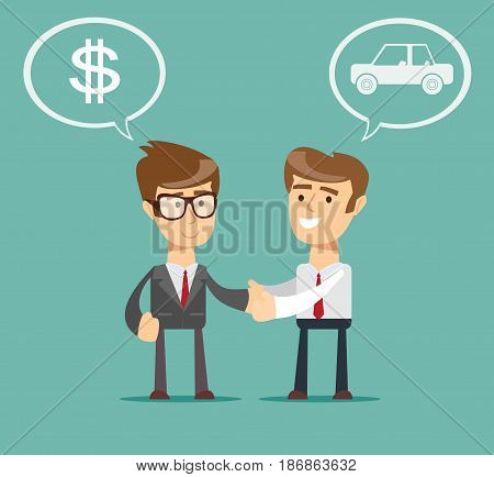 auto dealer with new owner shaking hands in auto show or salon. Man Buying a Car