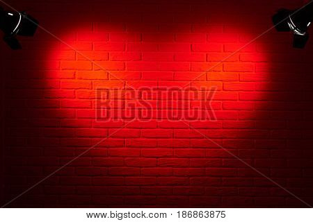 dark red brick wall with heart shape light effect and shadow, abstract background photo, lighting equipment