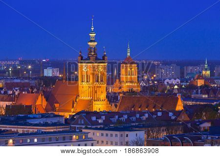 Architecture of the old town in Gdansk at dusk, Poland