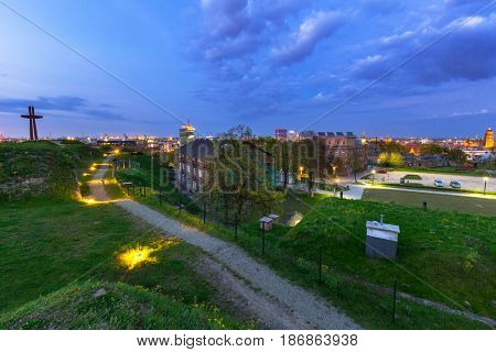 View from Gradowa hill in Gdansk at dusk, Poland