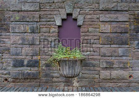 Planter on Old Stone Wall in Renaissance Garden