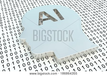 AI in the form of binary code, 3D illustration