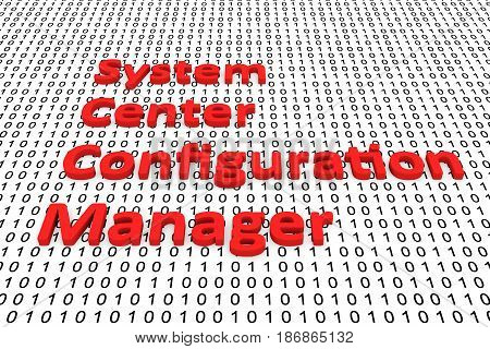 System center configuration manager binary code 3D illustration